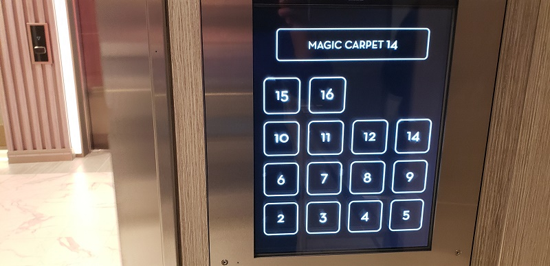 Celebrity Edge's elevator has large, touch buttons and a changeable space for the location of the Magic Carpet or gangway, for example.
