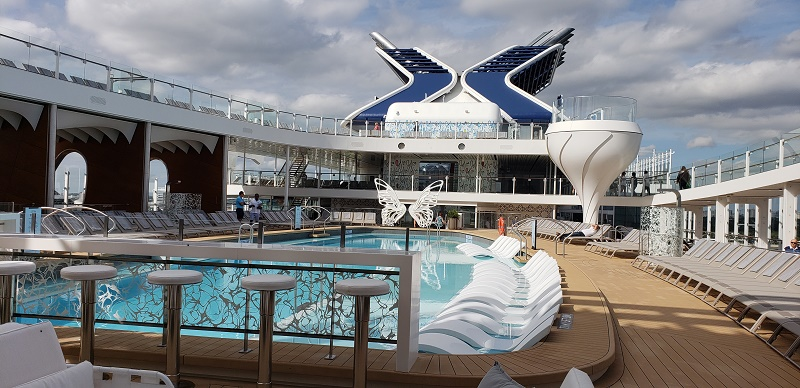 Main Pool Deck with Celebrity's signature X funnel in the background