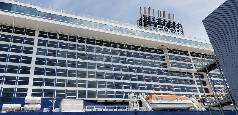 Celebrity Edge at its new terminal at Port Everglades, FL