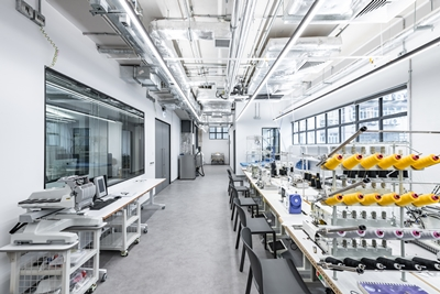 Fabrica Lab has various machines for creating prototype fashion products.