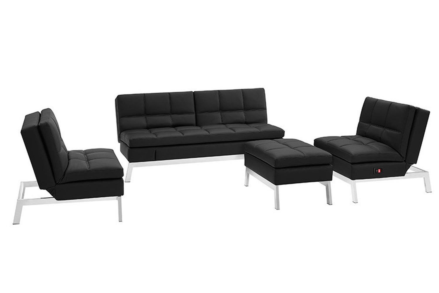The couch can be transformed from a place to watch television, and to a bed that can sleep two.