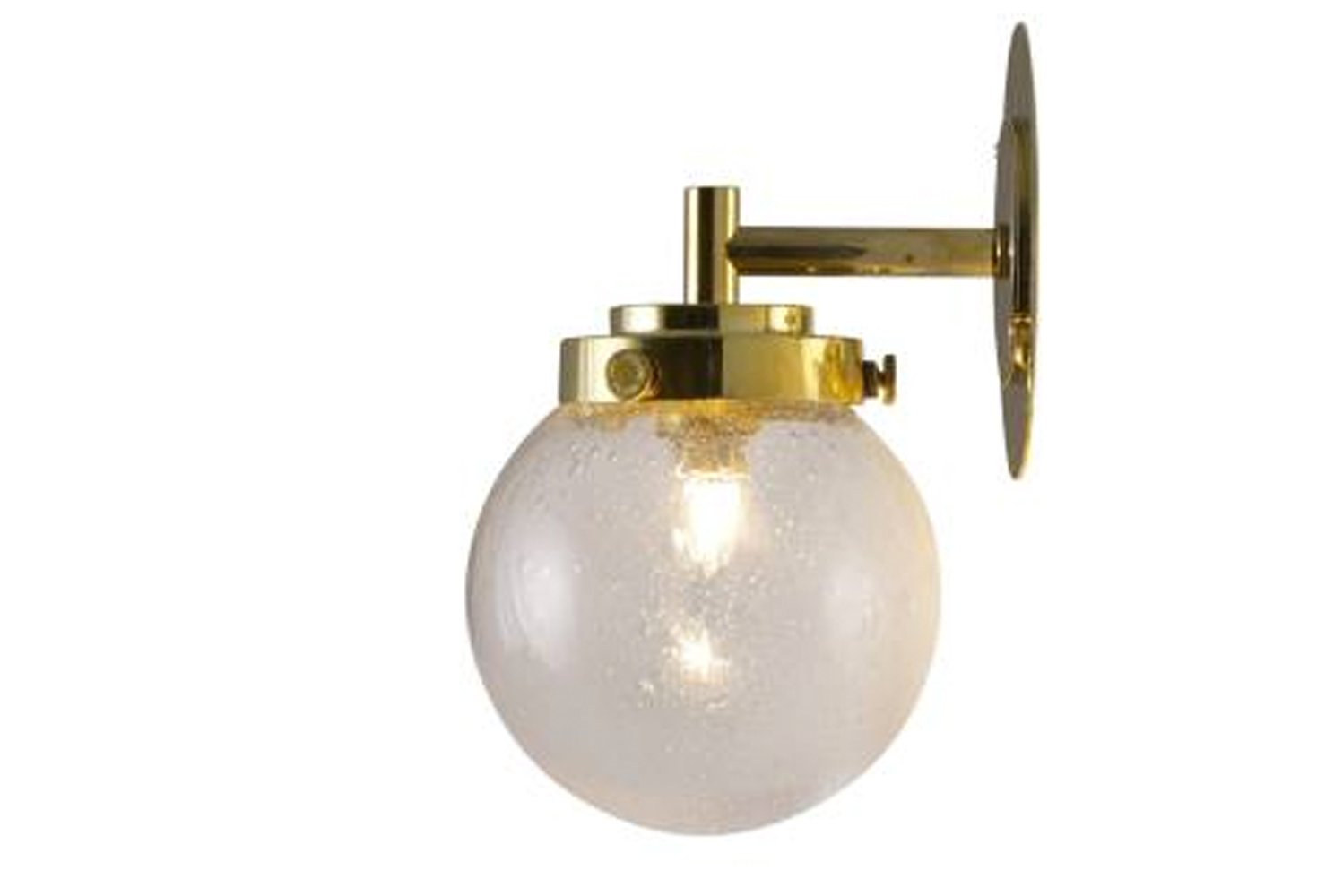 The new Mini Globe wall light integrates the same Art Deco cues within its metal fixtures and features a compact (120mm) glass globe.