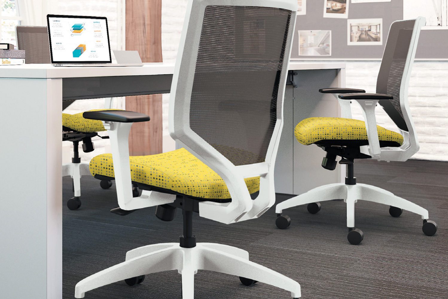 The chair has arm adjustability and tilt control options, and the seat is available in different fabrics.