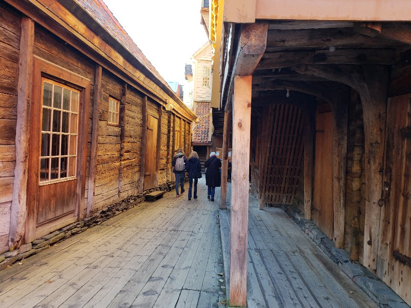 Inside one of the passageways in Bryggen