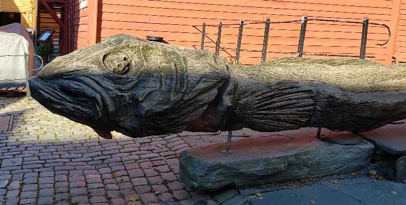 The head of a massive fish carved by a local artist.