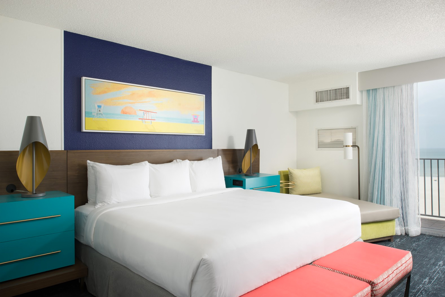 Bilmar Beach Resort updated its 165 rooms to incorporate modern, beach-themed furniture and decor that captures the spirit of the gulf-front coast.