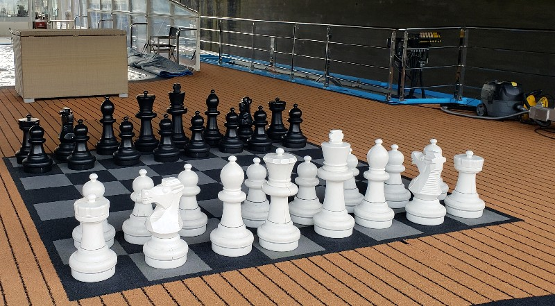Humongous chess board on the Sun Deck