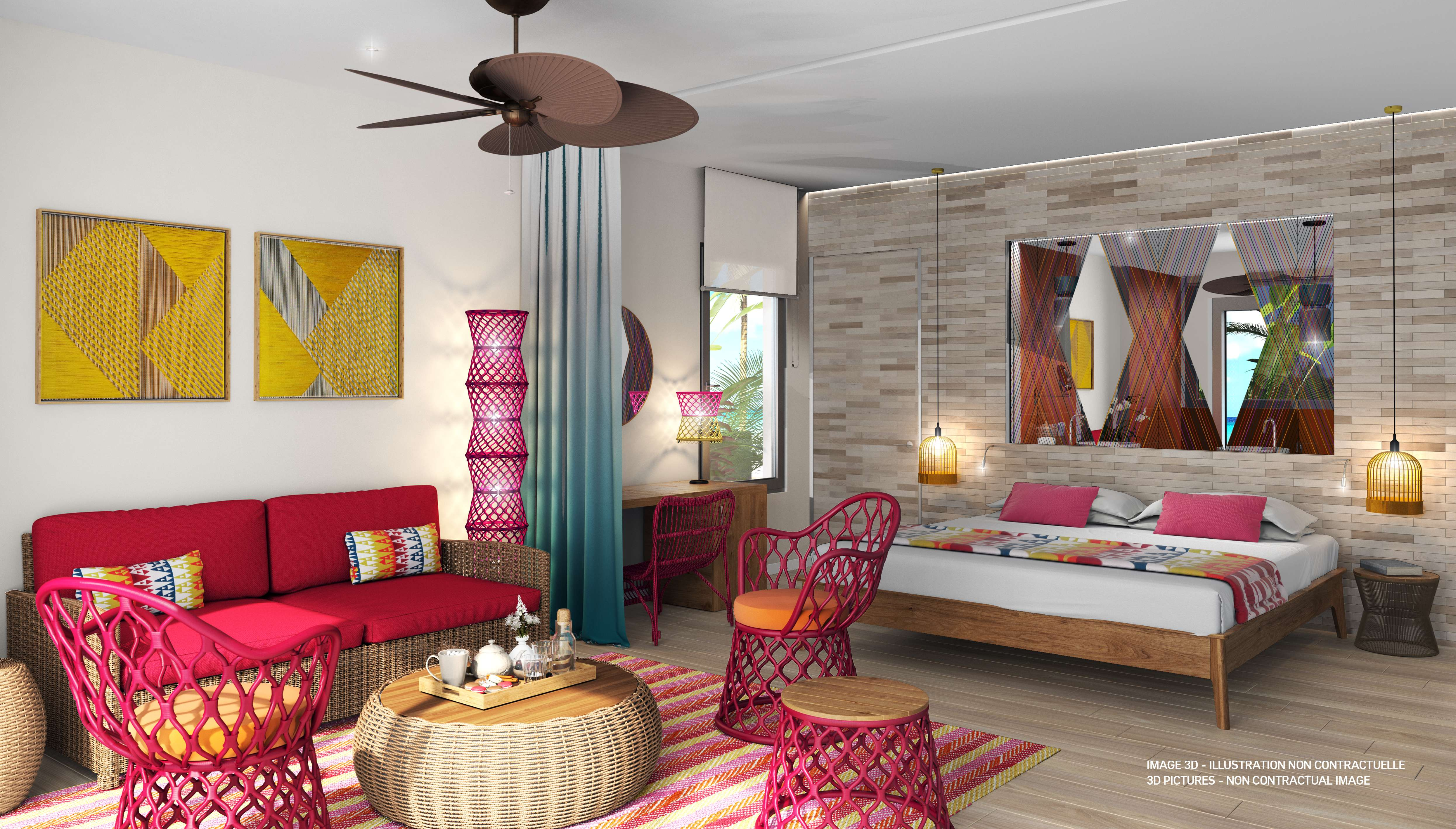 The Caribbean Paradise village has 111 rooms close to the main pool and the beach lounge.