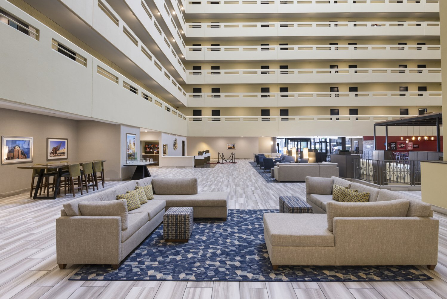 Renovated were 298 guestrooms, 20,000 square feet of meeting space, 3,210 square feet of public spaces and the hotel's restaurant, Burgers & Crafts.