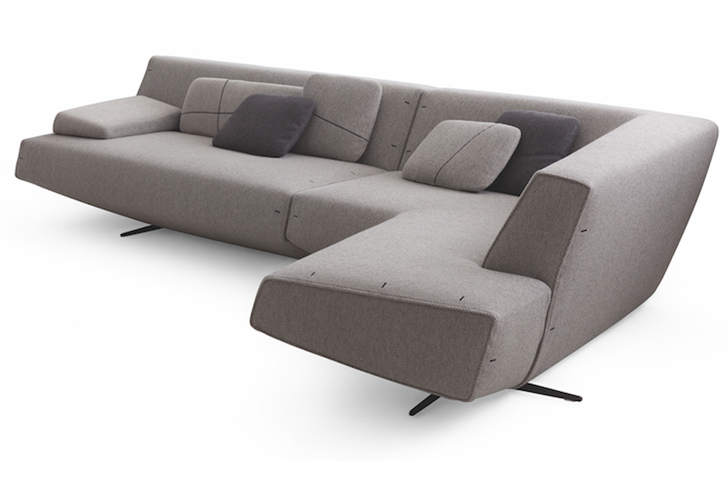Based on cross-shaped legs that are raised just slightly off the ground, the sofa appears to stay afloat in the air to counter-balance its form.