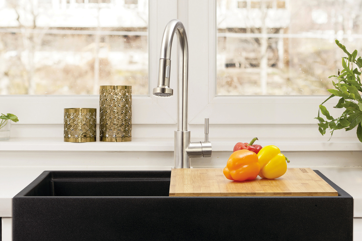 The faucets are constructed in high-quality, no-lead brass and is coated with PVD finish to withstand years of use.
