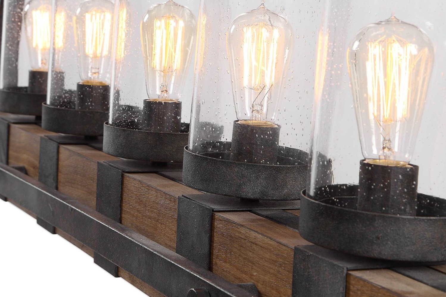 Each fixture contains five 100-watt Edison sockets and five 60-watt antique-style BT58 Amber light bulbs.