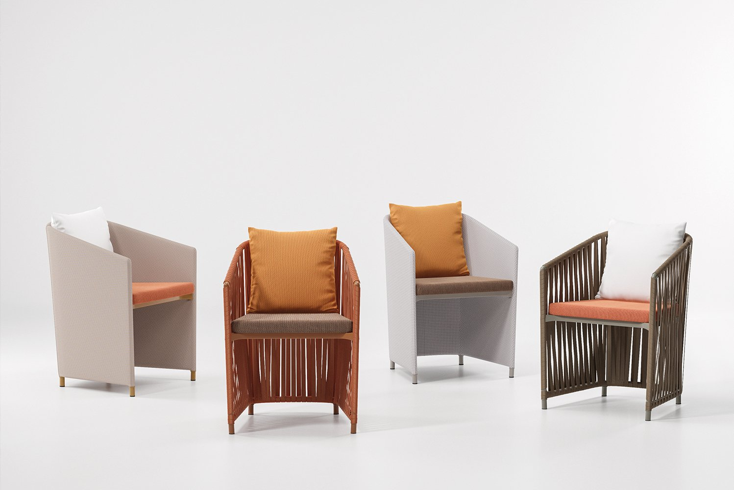Bitta is characterized by a combination of aluminum frames, seats of braided polyester and cushions.