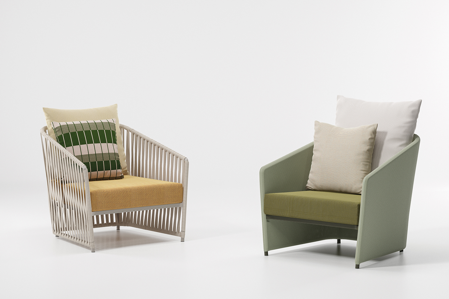 The backrest cushions are made from Terrain and Geometrics fabrics designed by Doshi Levien.