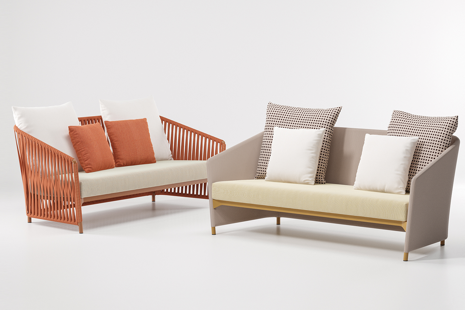 The Bitta lounge is offered in two different finishes, Bela Ropes and Parallel Fabrics, each available in 17 different colors.