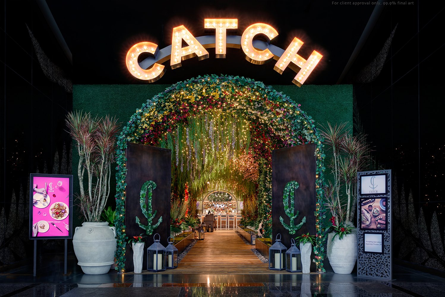 There is an 80-foot entry tunnel dripping with twinkling lights and flowers with secluded niches and floral artwork.