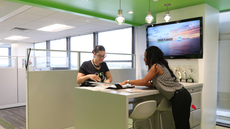 Employees work together in one of the office's collaborative spaces.