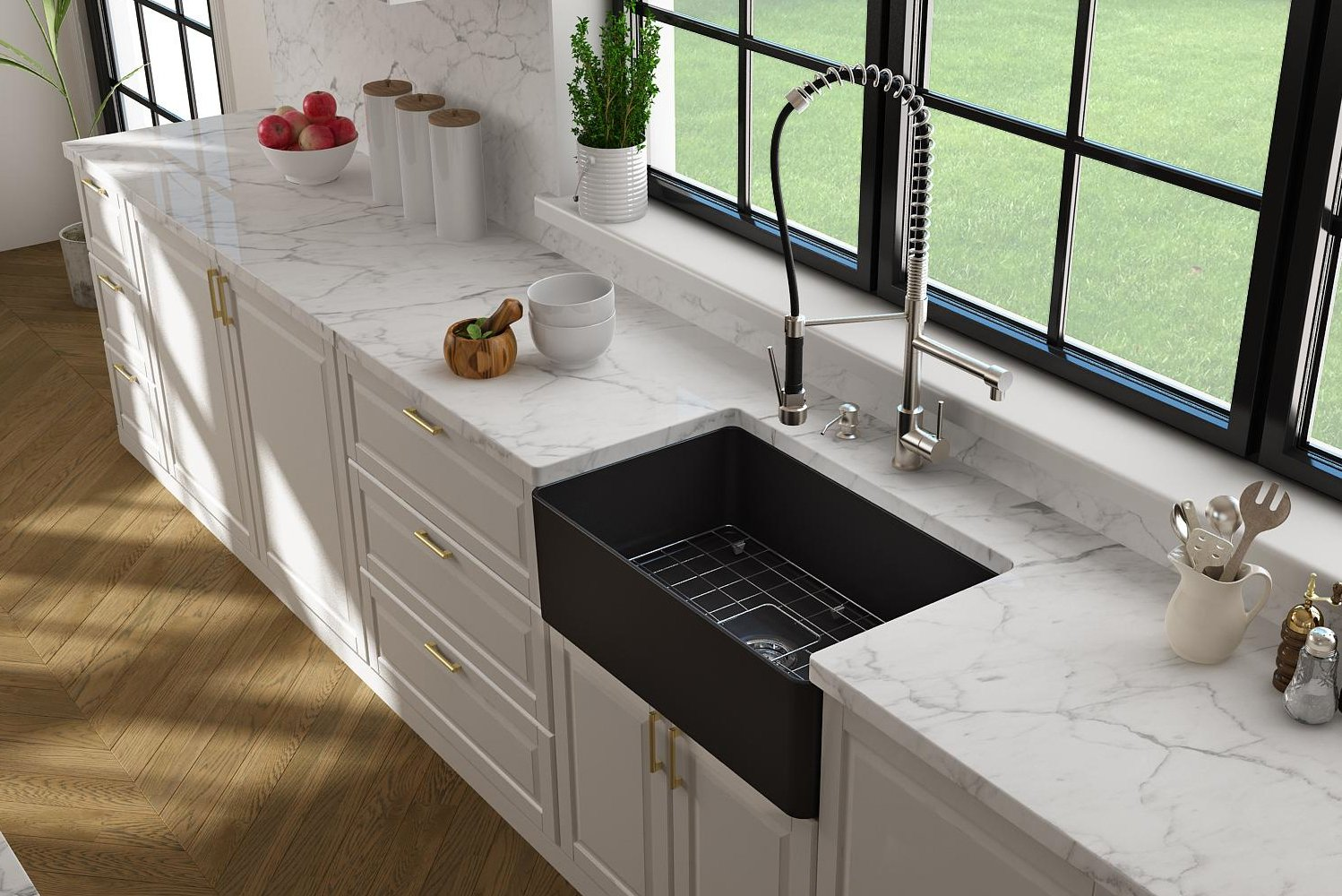 The Forte apron-front sink features a slim profile to allow its wall thickness to be cut nearly in half versus traditional fireclay sinks.
