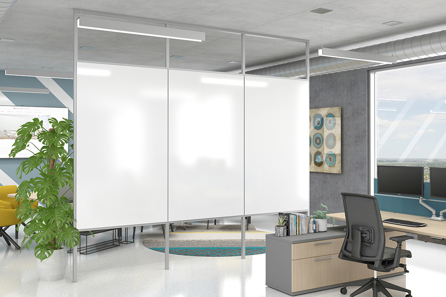 It was designed to fit in almost any open space environment and not be confined or anchored to the wall.