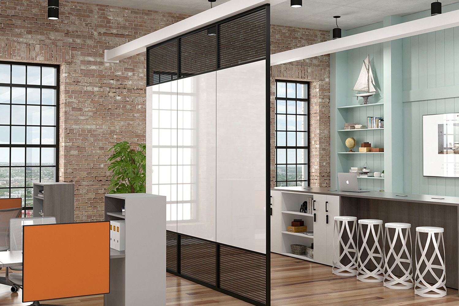 Sliding panels in various materials can be incorporated in some configurations to add even more functionality.