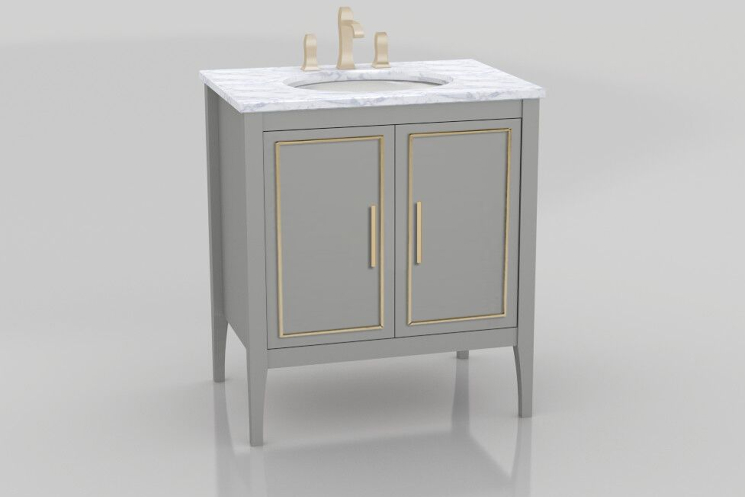 The vanity is available as a wall-mounted unit or as a freestanding model with exposed legs.