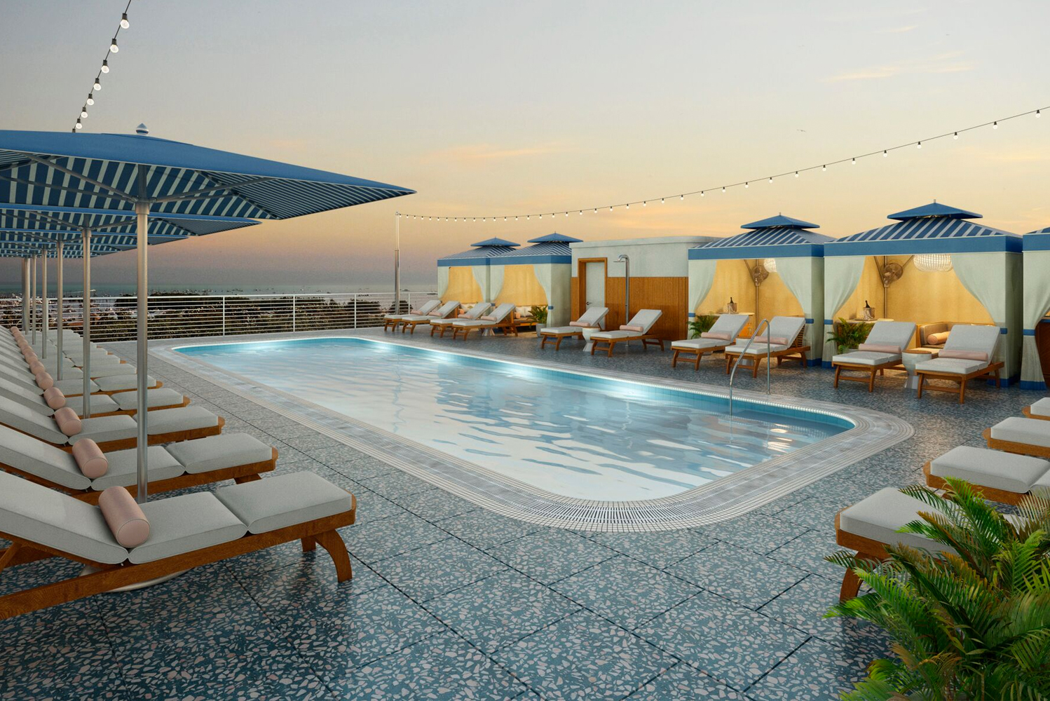 Other property amenities will include a rooftop pool and pool deck with private cabanas and a pool bar.