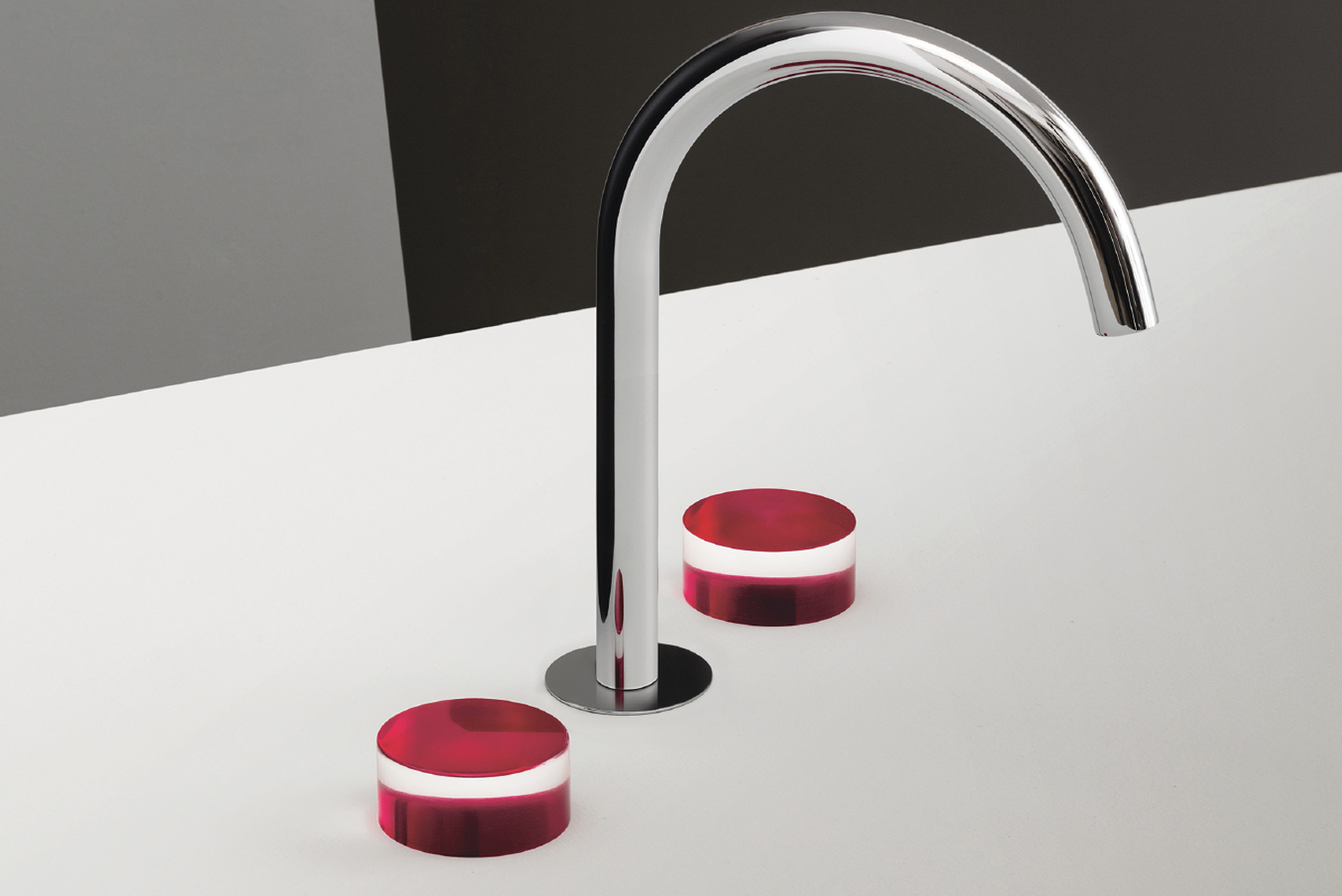 Fantini's Nice faucets feature a rainbow of candy-colored adornments, compatible with existing bath, shower and basin fittings.