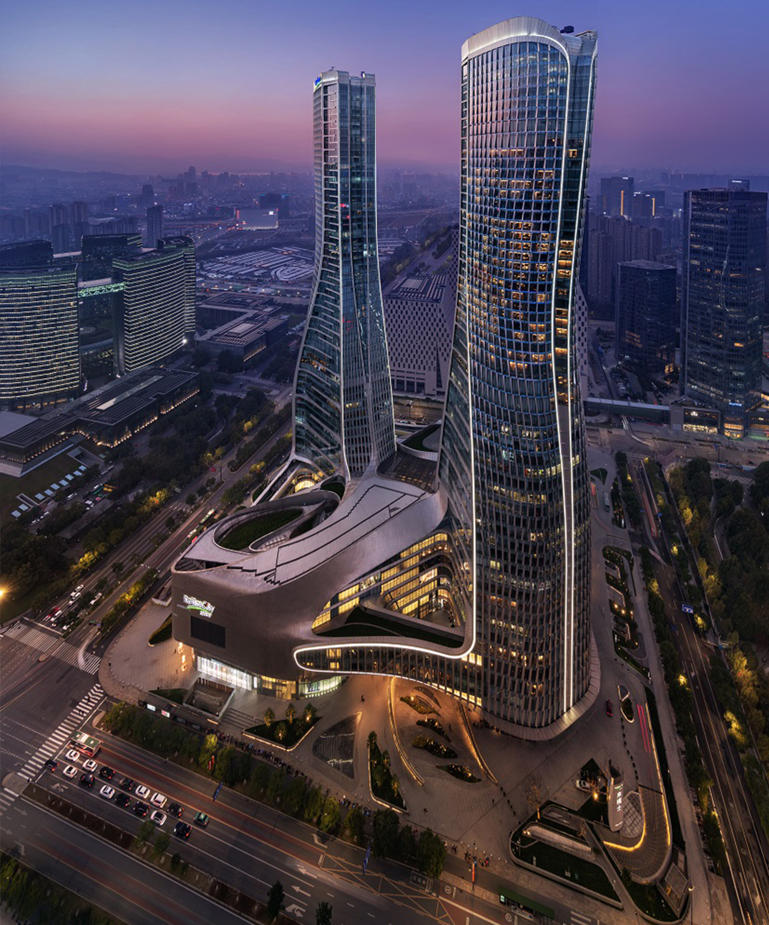 Designed by Dutch architect UN Studio, the hotel has two distinct towers, each soaring 50 stories high.