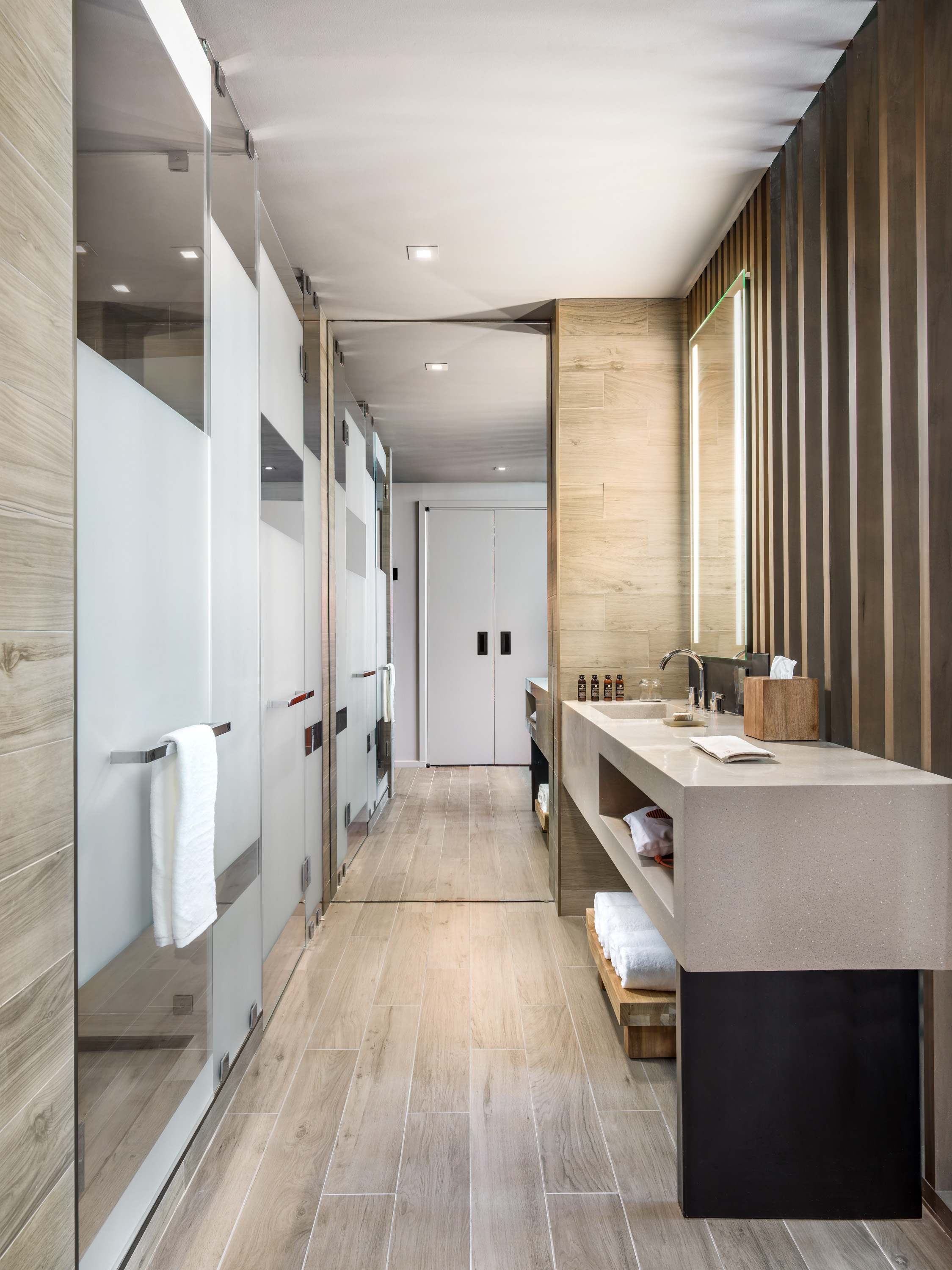 "For hotels where the bathroom's design does not incorporate a bath, Felicia Seignior, SVP of business development and brand at Apaiser likes ""beautiful and functional"" integrated basins."