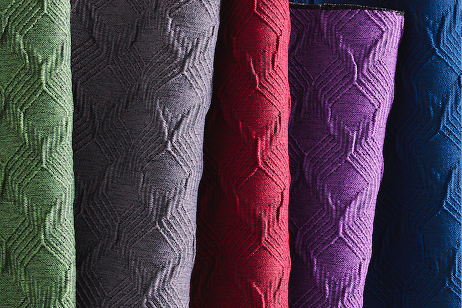 The collection combines texture and geometric patterns for wide-ranging looks and uses within commercial spaces.