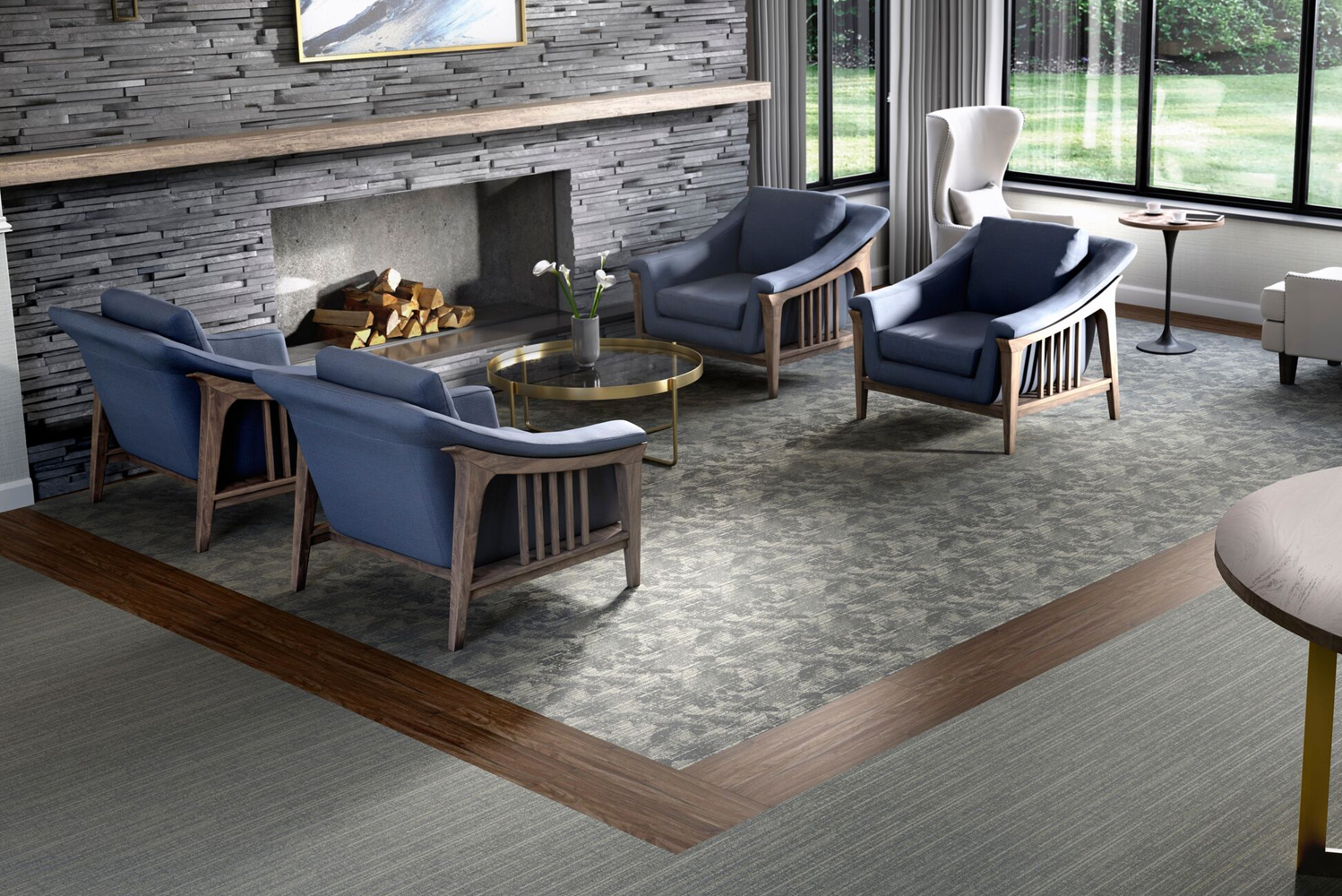Ideal for spaces catering to seniors, Garden Walk is a soft surface collection that features ColorPoint Broadloom, Powerbond and Modular tiles.