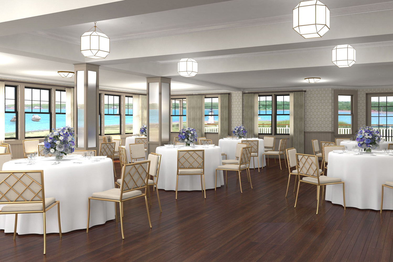New wood floors, lighting and wood-trimmed mirrors in the Edgartown Room will give the space an expansive appearance.