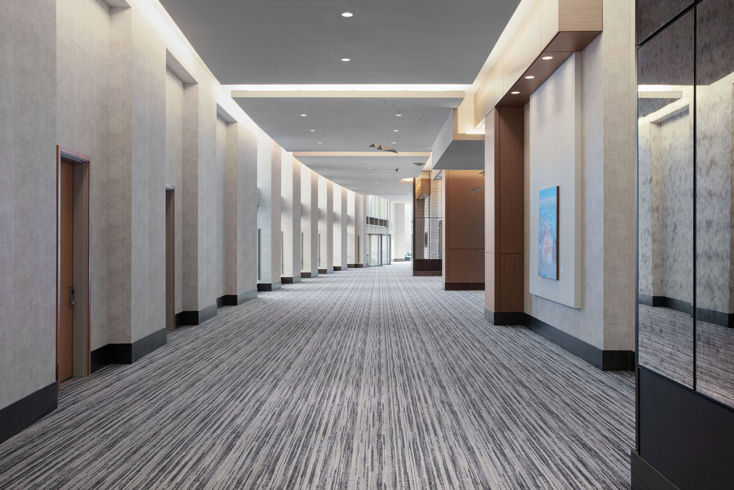 The hallways of Loews Chicago O'Hare Hotel are now flanked with artwork, leading to the meeting and event spaces.