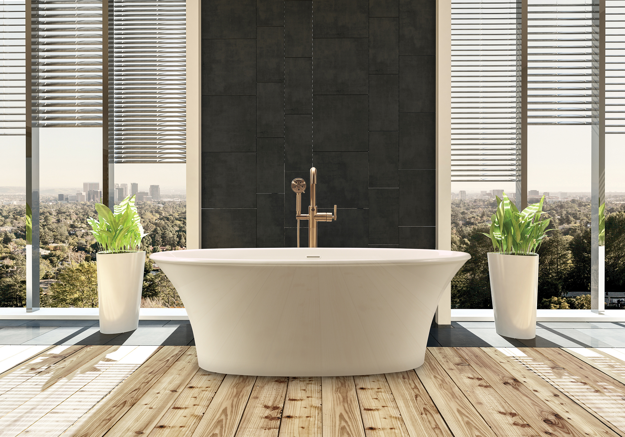 MTI Bath's Charlotte bath model provides lumbar support, integrated internal overflow and a white toe-tap drain.