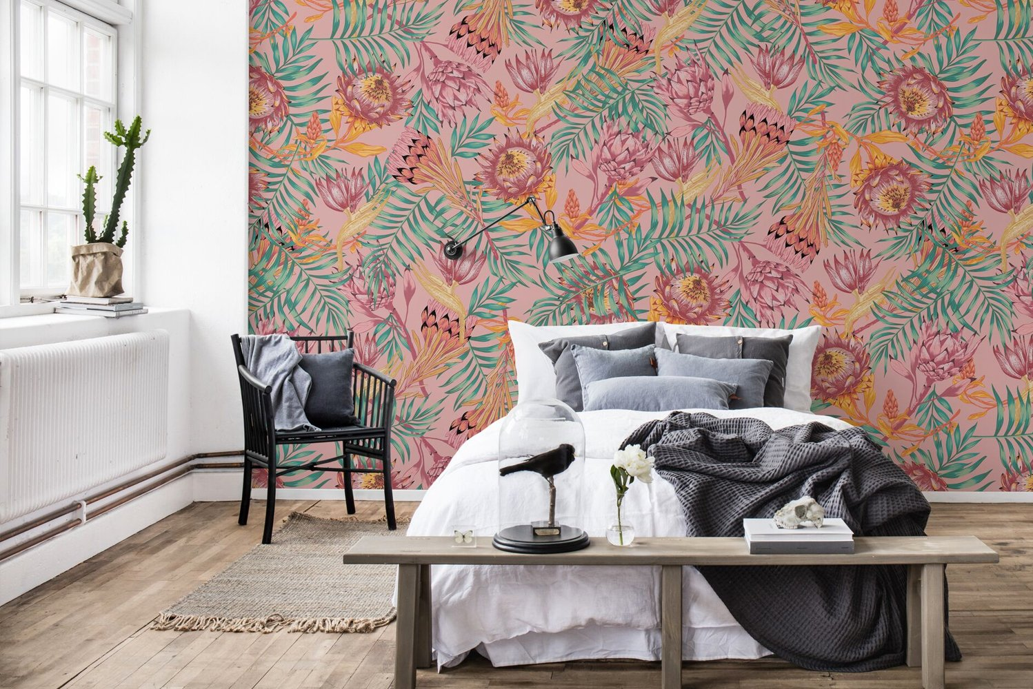 Some of the wallpapers consist of a bright design with flowers from the Protea species in a creme and a pink colorway.