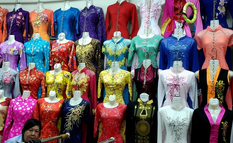Colorful Vietnamese clothing for sales at Ben Thanh Market