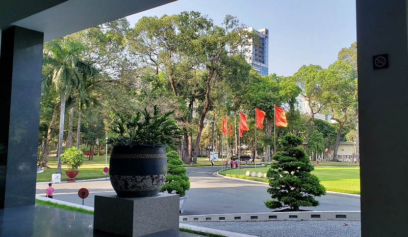 Outside view from Reunification Palace's front entrance.