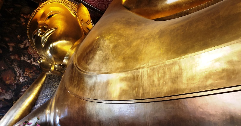 The reclining Buddha is more than 50 feet high and 151 feet long.