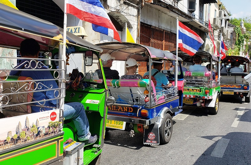 Our caravan of tuk-tuks.