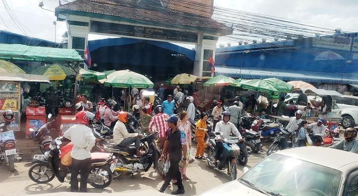 Bustling entrance to Sihanoukville's Phsar Leu Market