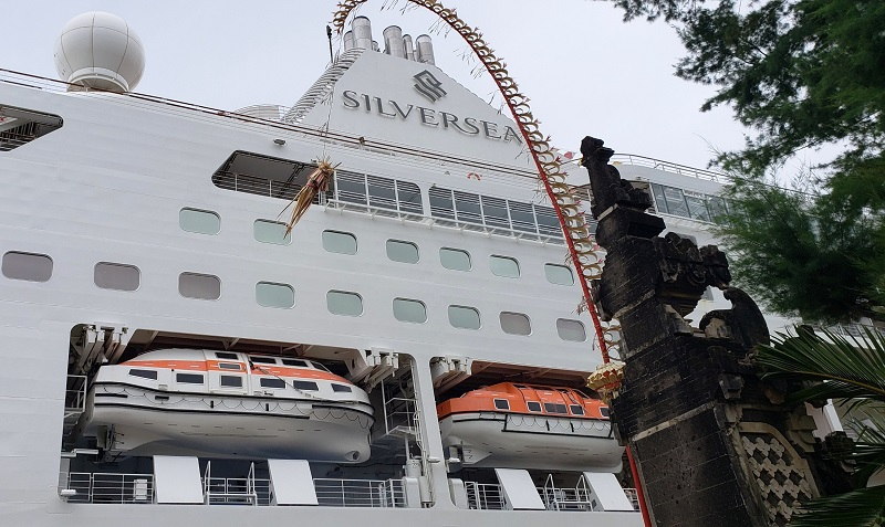 The 596-passenger Silver Muse, docked in Bali, Indonesia