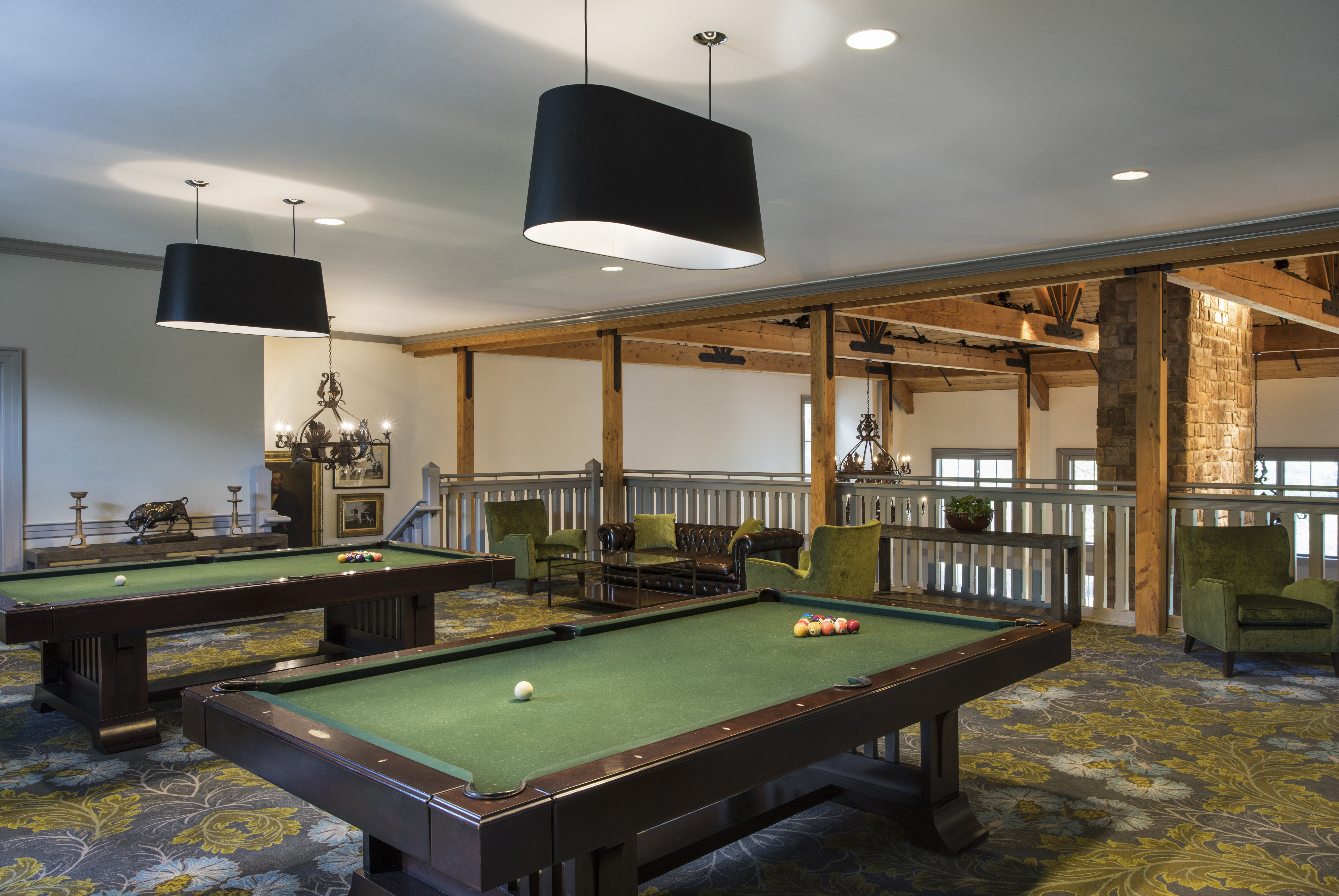 The design of the Lodge event space is meant to evoke traditional hunting lodges.