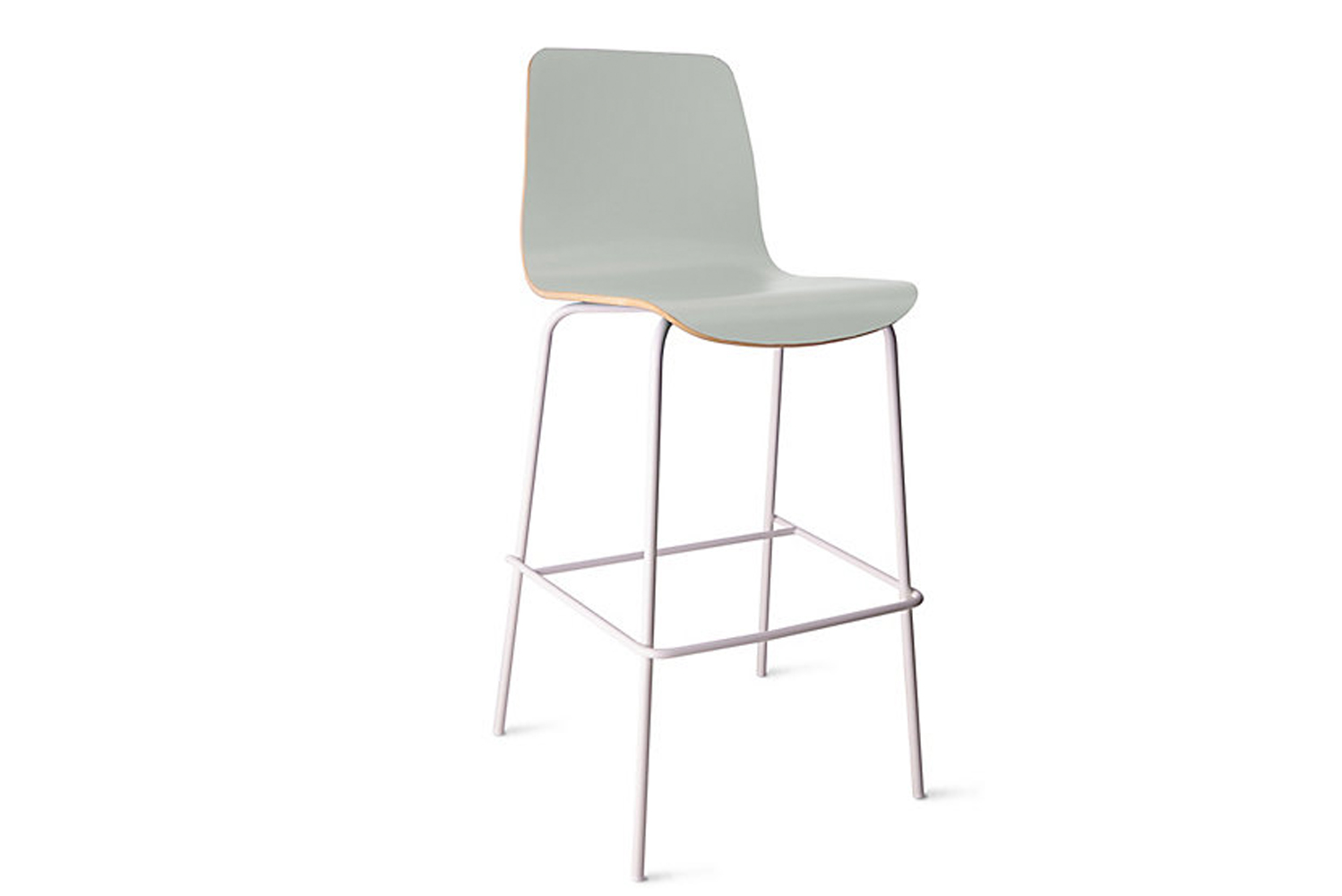 The bases of the seats are powder-coated in black or white, or polished chrome.