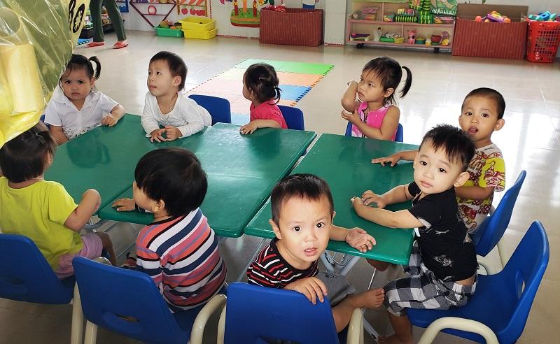 Children at the local kindergarten in Hoa Chau, Vietnam.