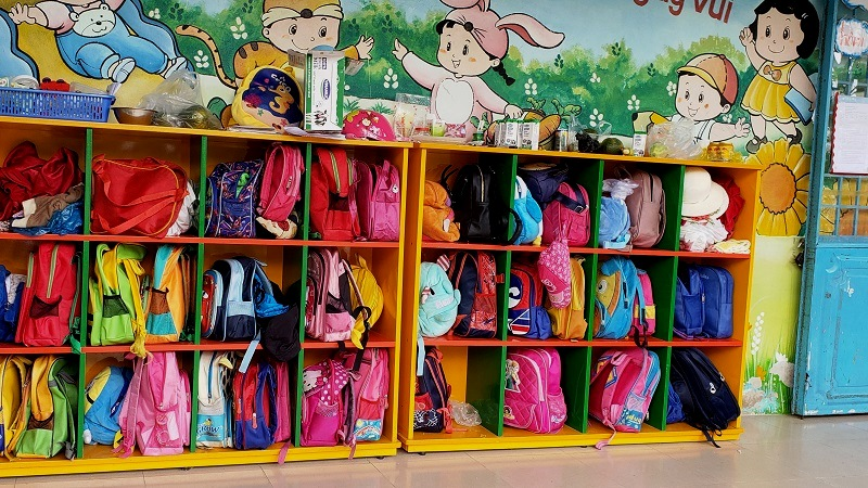 Colorful kids' back-packs at the local kindergarten.