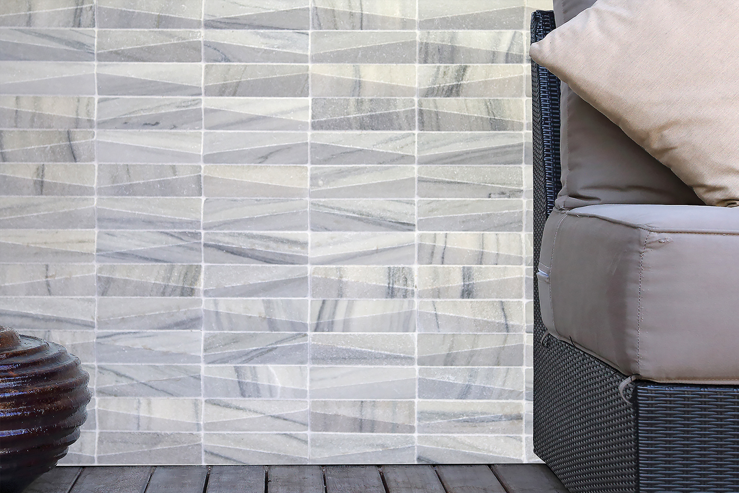 Two new colors—crystal white and typhoon grey—round out the line's range, which also includes sandstone mint and sandstone ocean.