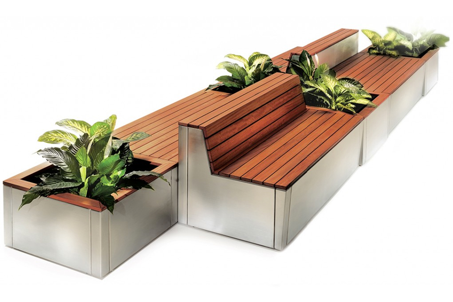 An aluminum base supports seating and optional planter boxes made of recycled wood composite slats.