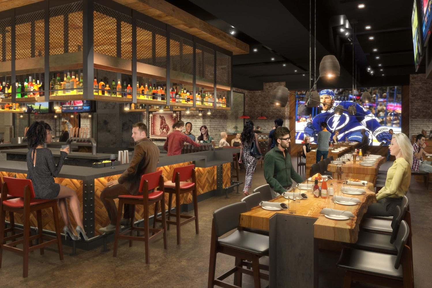 Additional elements of sports culture can be felt throughout the Garrison Tavern, including a giant Jenga and shuffleboard in Topgolf Swing Suite.