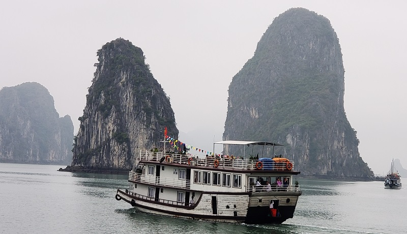 Many tour boats ply the waters of Ha Long Bay.