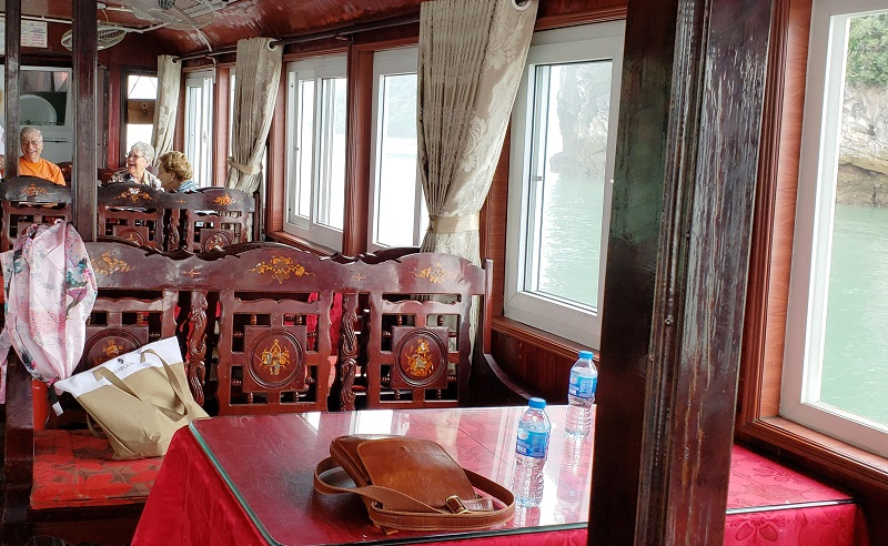 Interior seating of the tour boat.